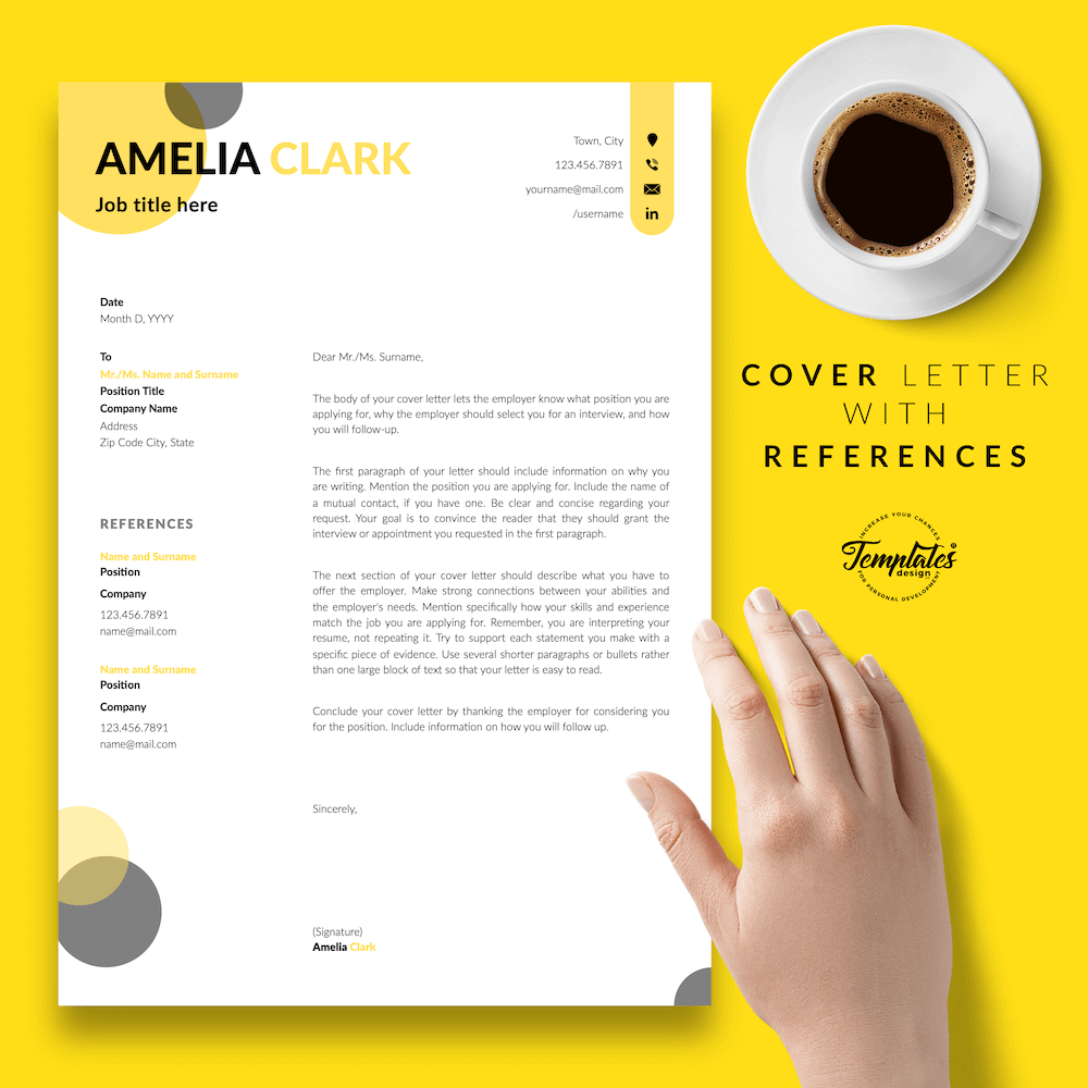 Graphic Designer Resume - Amelia Clark 07 - Cover Letter with References