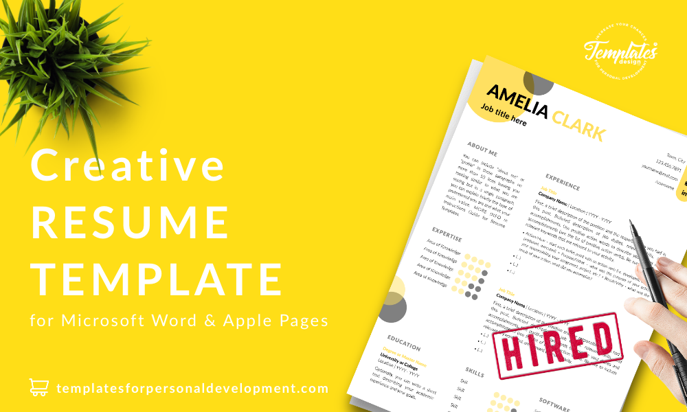 Resume CV Template : Amelia Clark 22 - Post