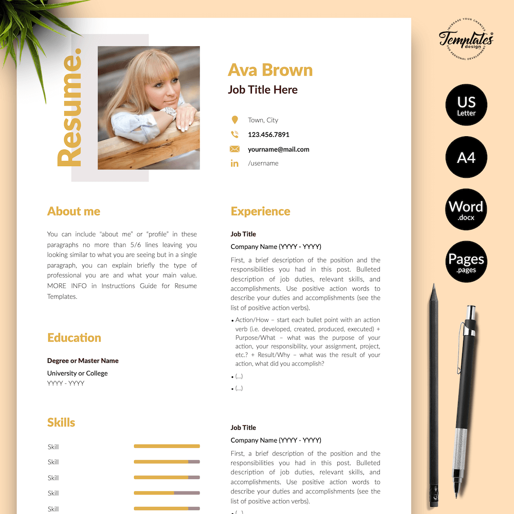 Modern Resume for Any Job - Ava Brown 01 - Presentation - New version