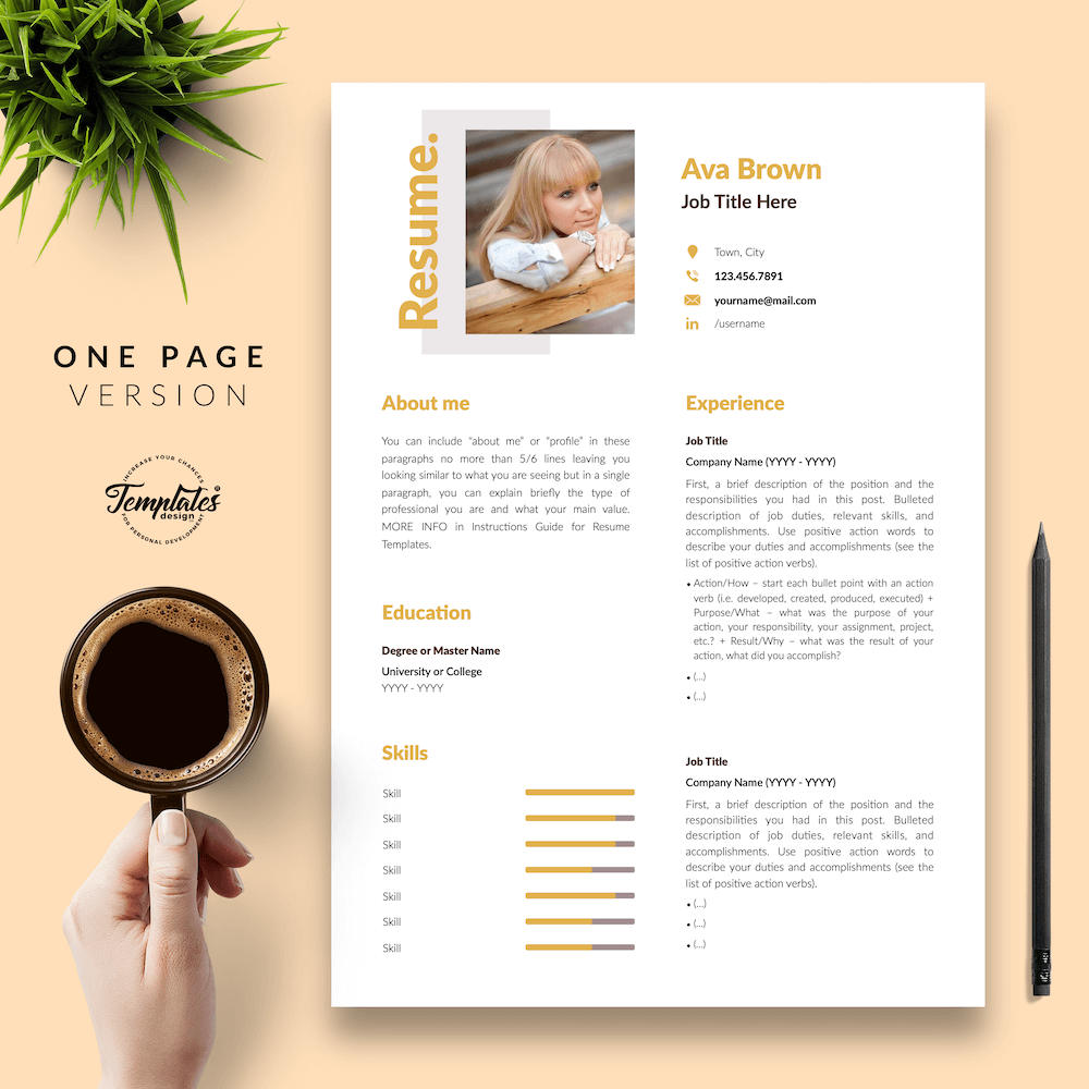 Modern Resume for Any Job - Ava Brown 02 - One Page Version - New version