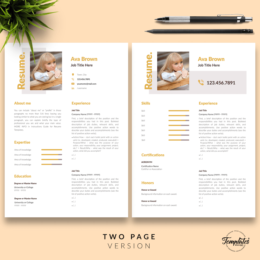 Modern Resume for Any Job - Ava Brown 03 - Two Page Version - New version