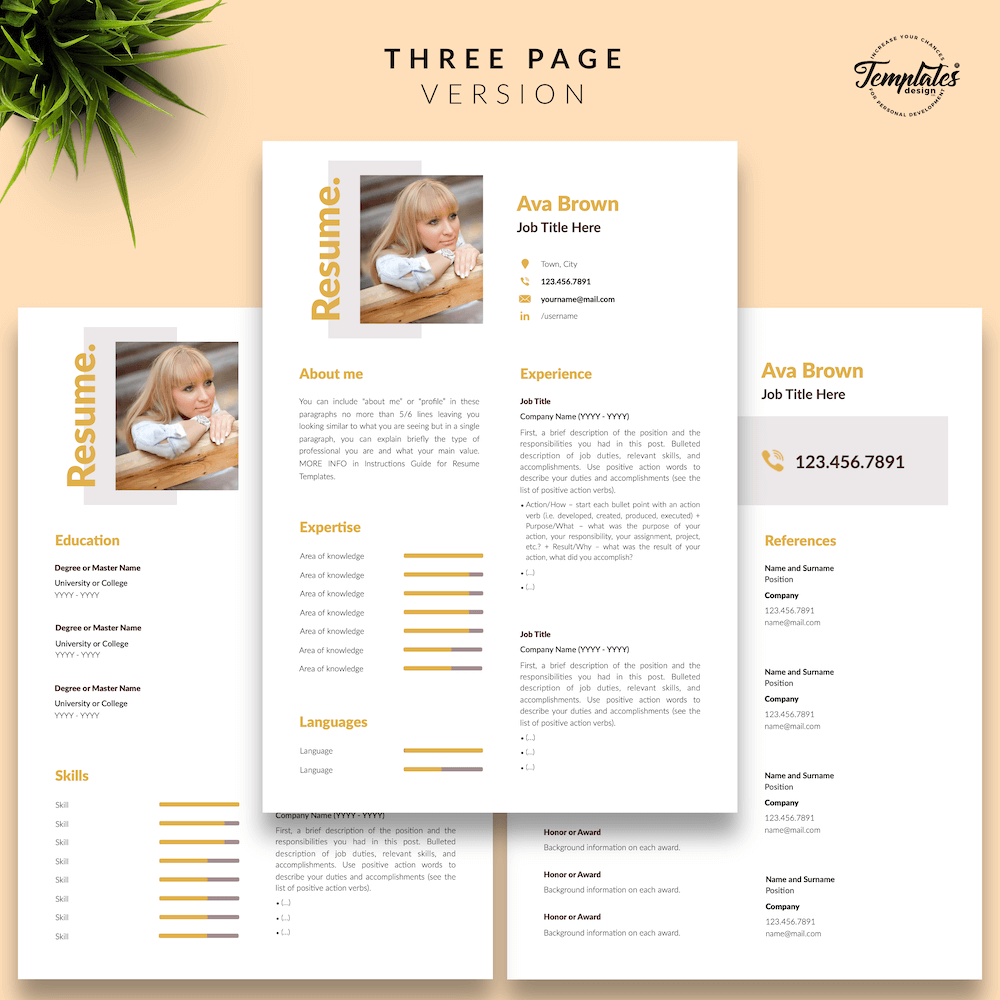 Modern Resume for Any Job - Ava Brown 04 - Three Page Version - New version