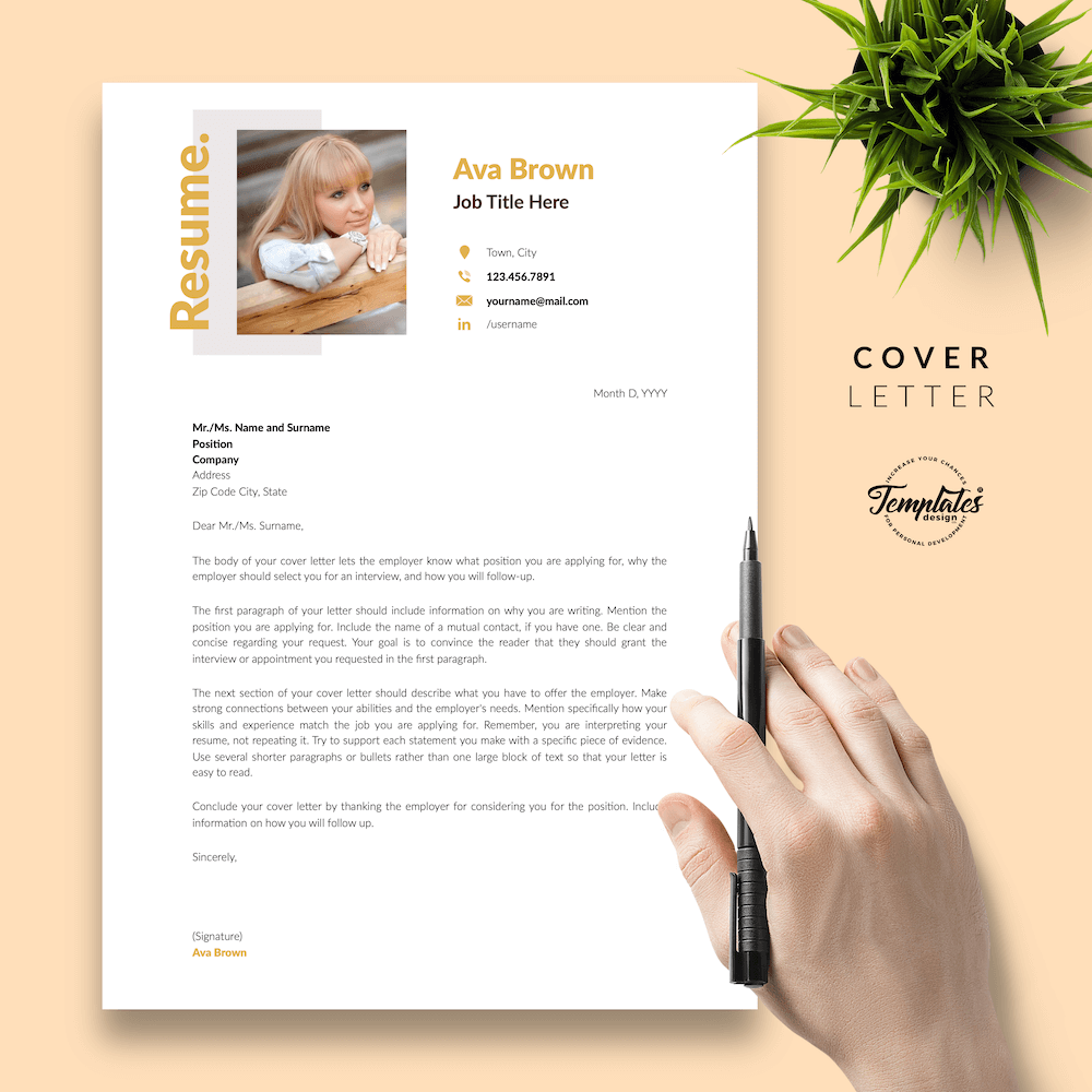 Modern Resume for Any Job - Ava Brown 05 - Cover Letter - New version