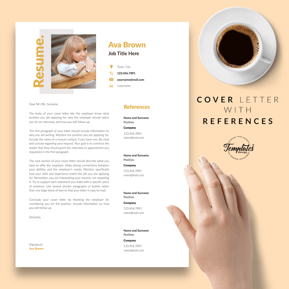 Modern Resume for Any Job - Ava Brown 07 - Cover Letter with References - New version