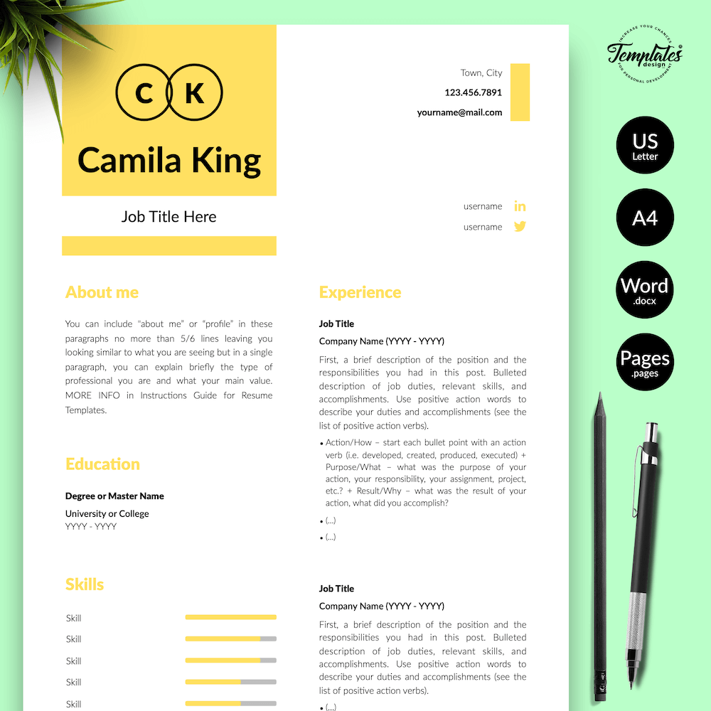 Resume Example for Any Job - Camila King 01 - Presentation - New version