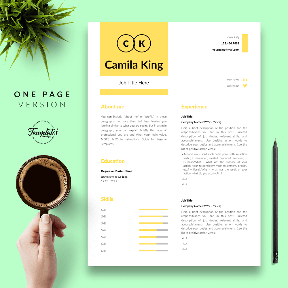 Resume Example for Any Job - Camila King 02 - One Page Version - New version