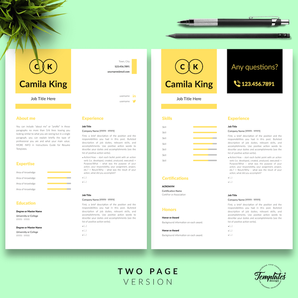 Resume Example for Any Job - Camila King 03 - Two Page Version - New version
