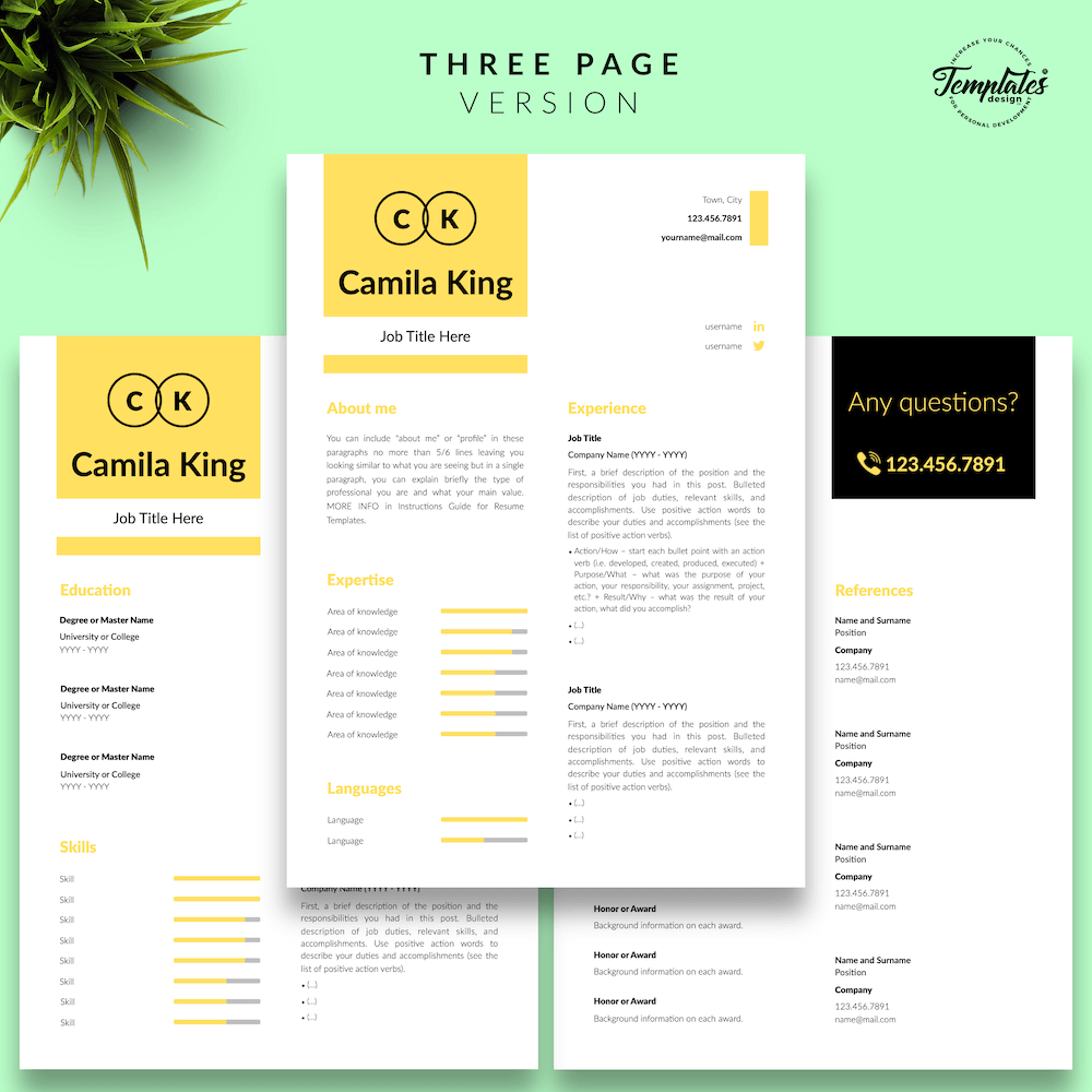 Resume Example for Any Job - Camila King 04 - Three Page Version - New version