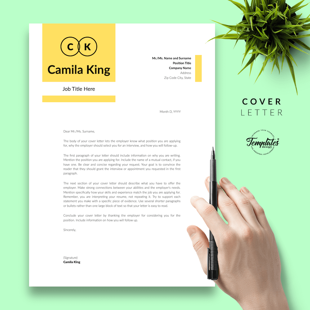Resume Example for Any Job - Camila King 05 - Cover Letter - New version