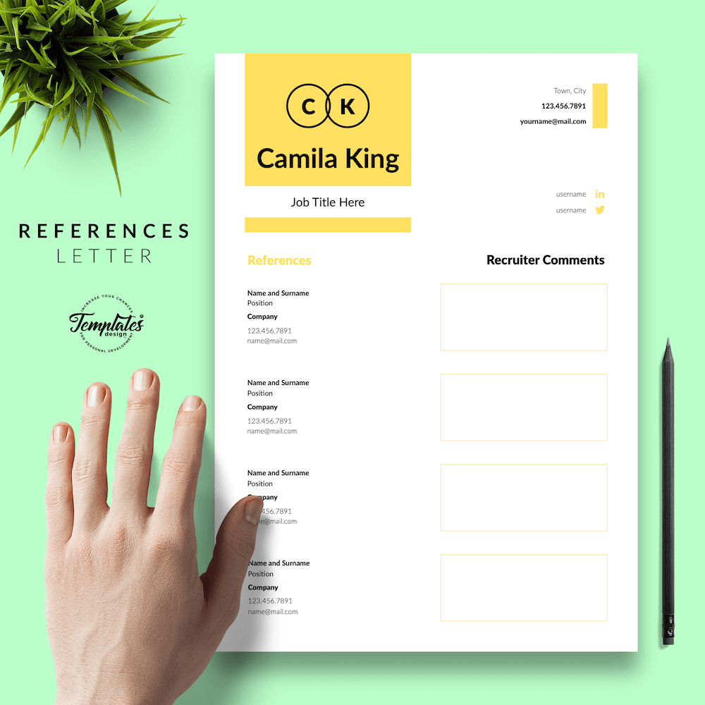 Resume Example for Any Job - Camila King 06 - References - New version