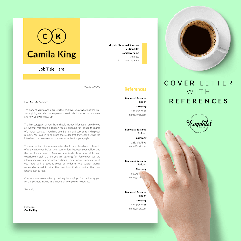 Resume Example for Any Job - Camila King 07 - Cover Letter with References - New version