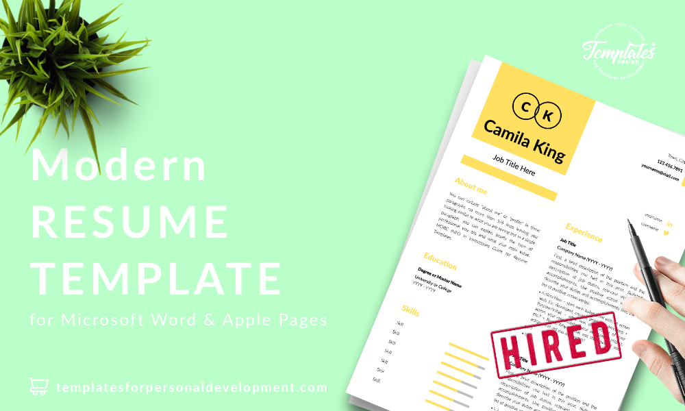 Resume CV Template : Camila King 22 - Post - New version