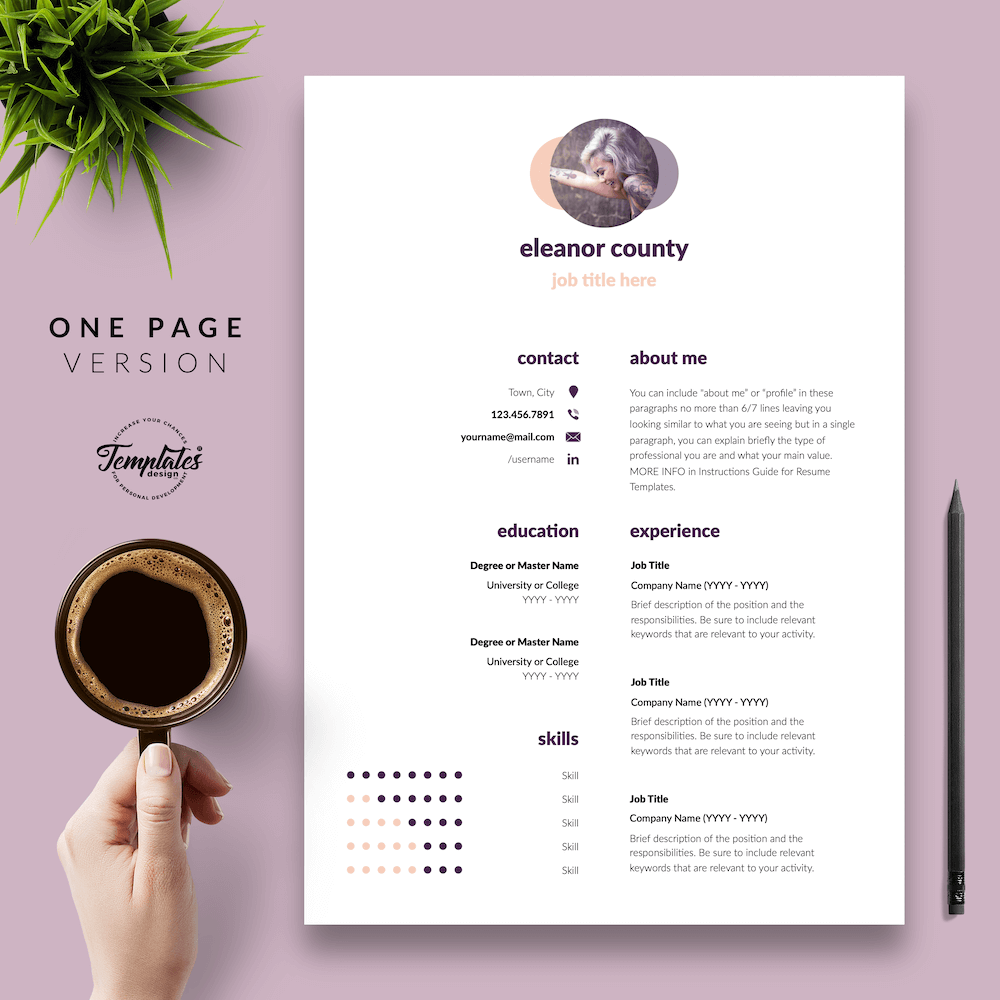 Minimalist CV Template - Eleanor County 02 - One Page Version