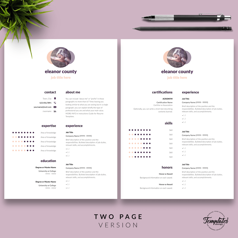 Minimalist CV Template - Eleanor County 03 - Two Page Version