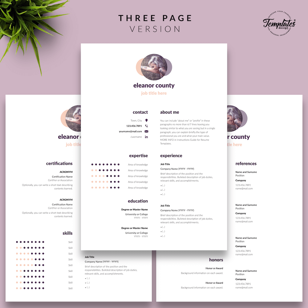 Minimalist CV Template - Eleanor County 04 - Three Page Version
