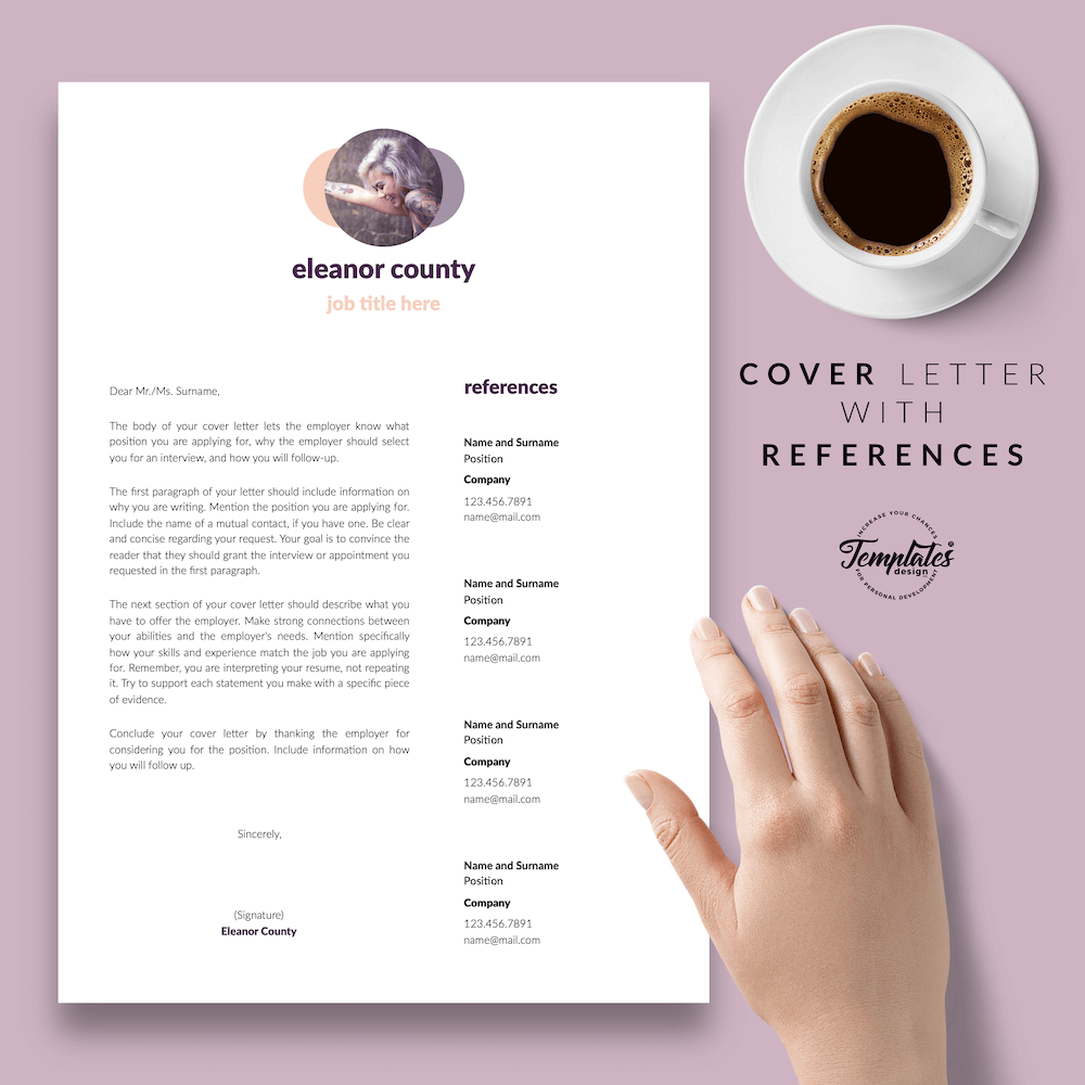 Minimalist CV Template - Eleanor County 07 - Cover Letter with References