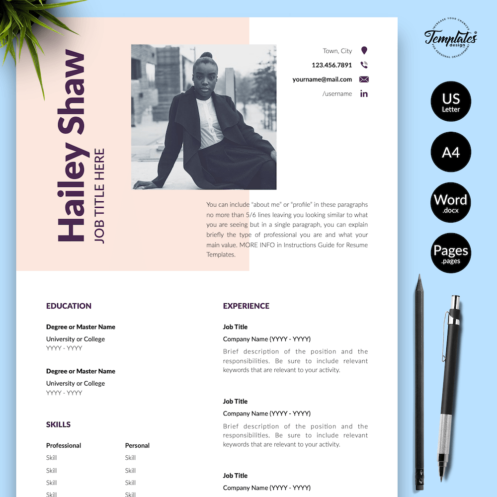 Feminine Resume Template - Hailey Shaw 01 - Presentation
