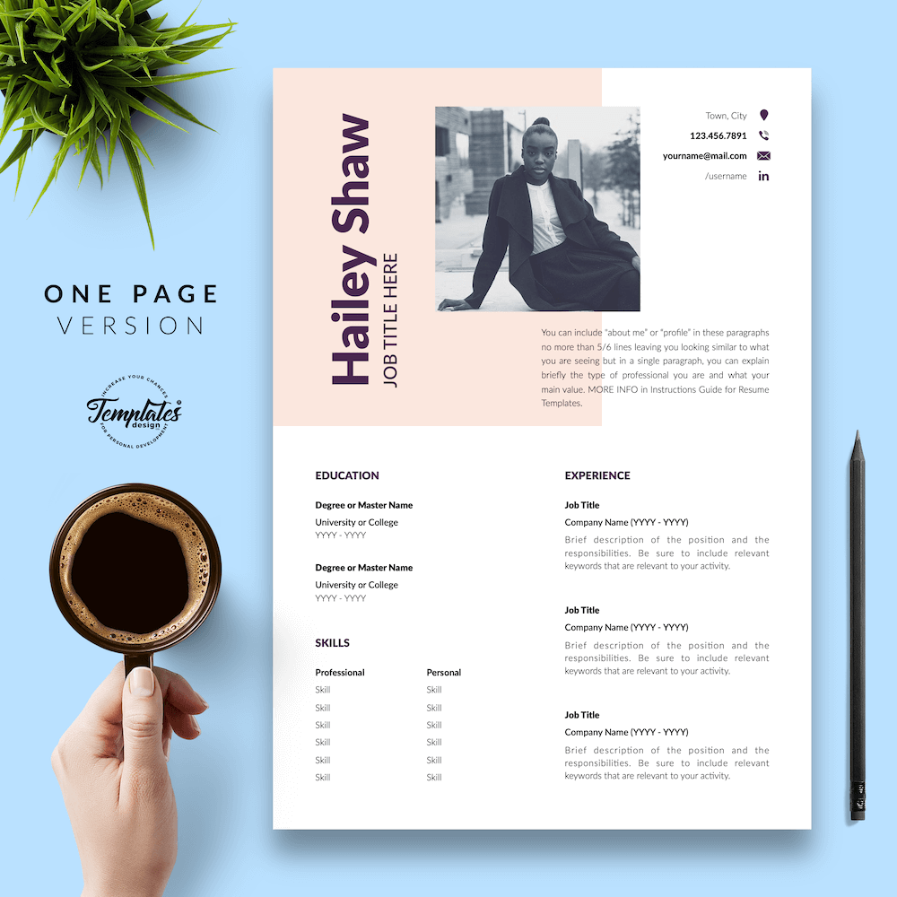 Feminine Resume Template - Hailey Shaw 02 - One Page Version