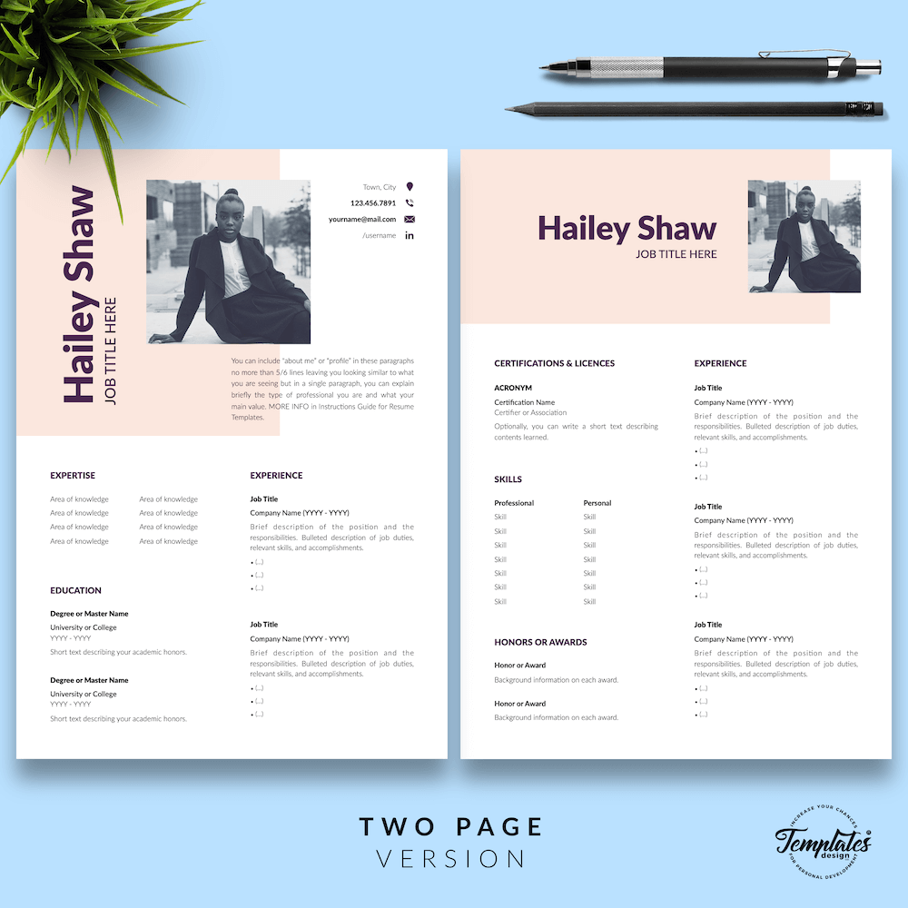 Feminine Resume Template - Hailey Shaw 03 - Two Page Version