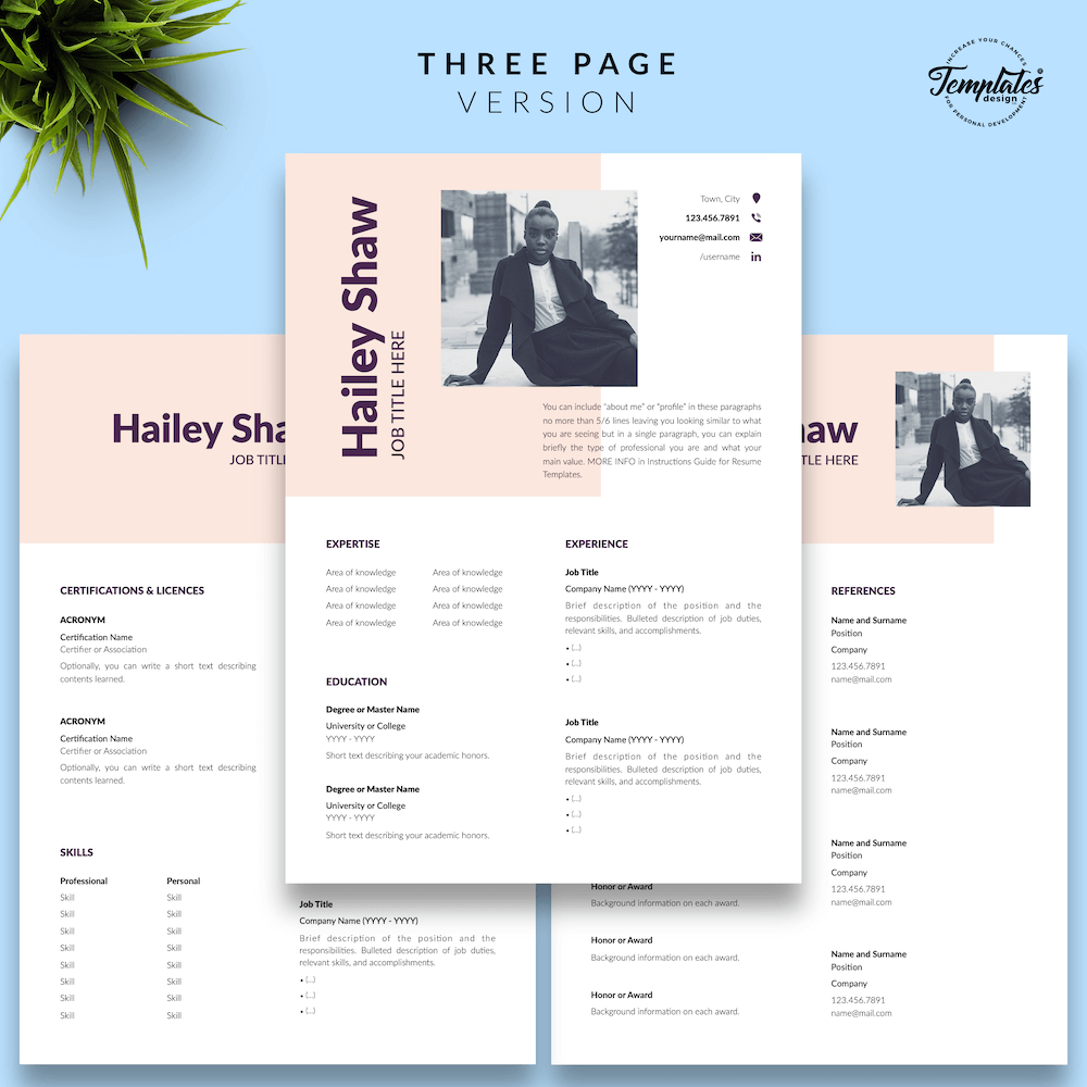 Feminine Resume Template - Hailey Shaw 04 - Three Page Version