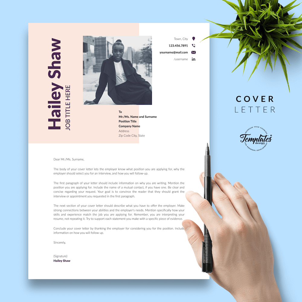 Feminine Resume Template - Hailey Shaw 05 - Cover Letter