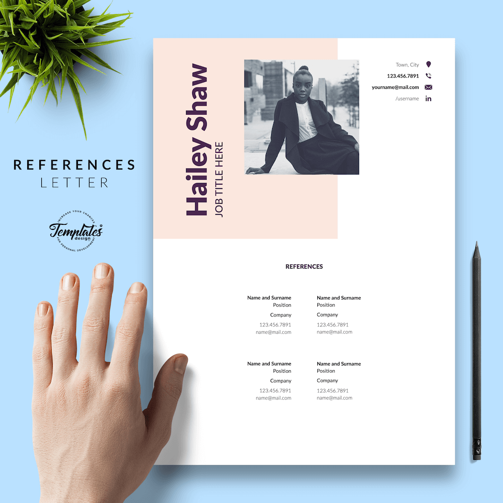 Feminine Resume Template - Hailey Shaw 06 - References