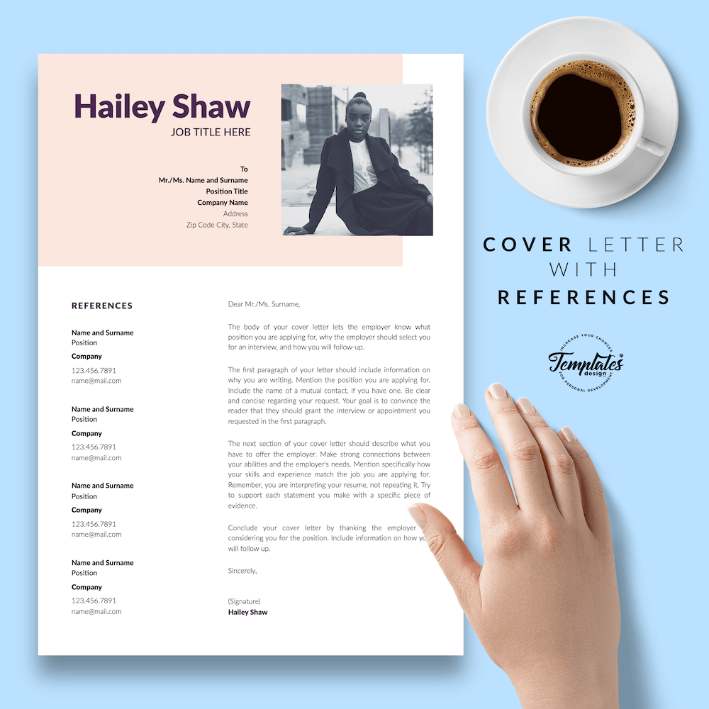 Feminine Resume Template - Hailey Shaw 07 - Cover Letter with References