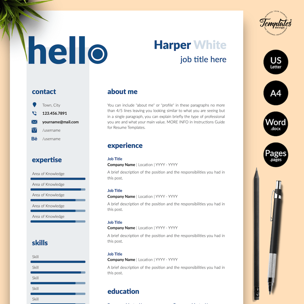 Photographer CV Template - Harper White 01 - Presentation - New version