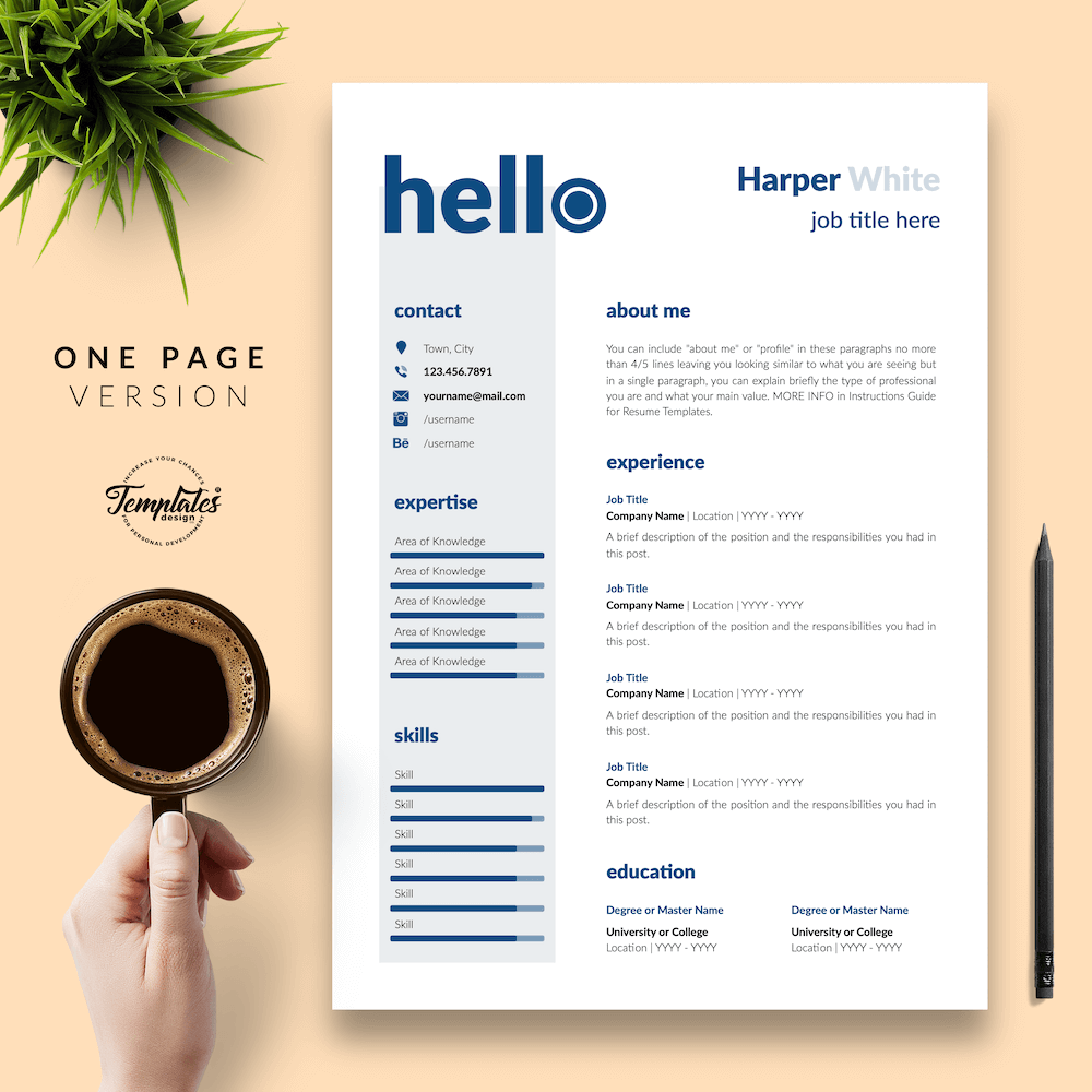 Photographer CV Template - Harper White 02 - One Page Version - New version