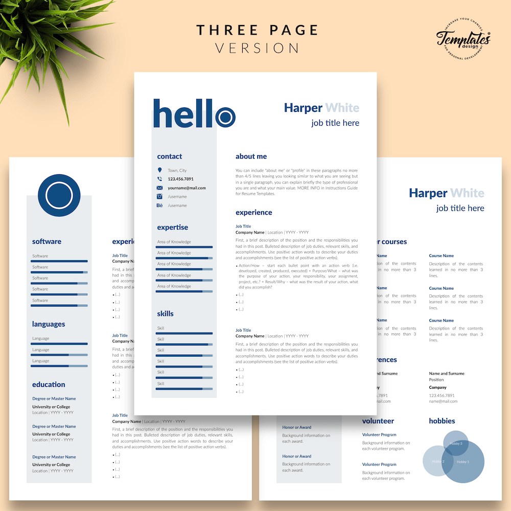 Photographer CV Template - Harper White 04 - Three Page Version - New version