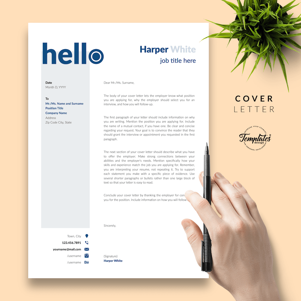Photographer CV Template - Harper White 05 - Cover Letter - New version