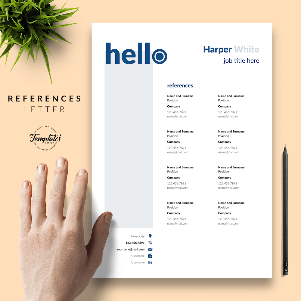 Photographer CV Template - Harper White 06 - References - New version