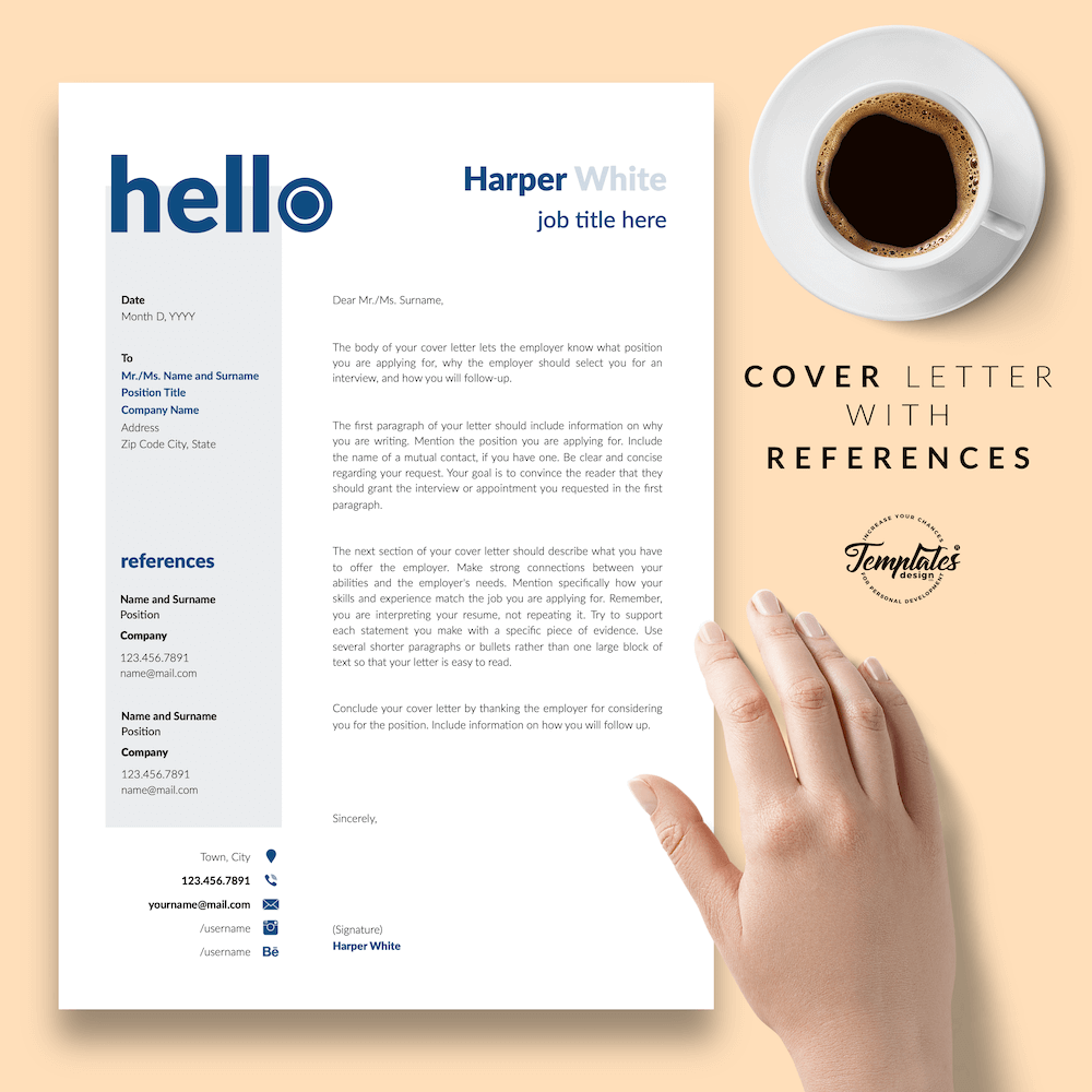 Photographer CV Template - Harper White 07 - Cover Letter with References - New version