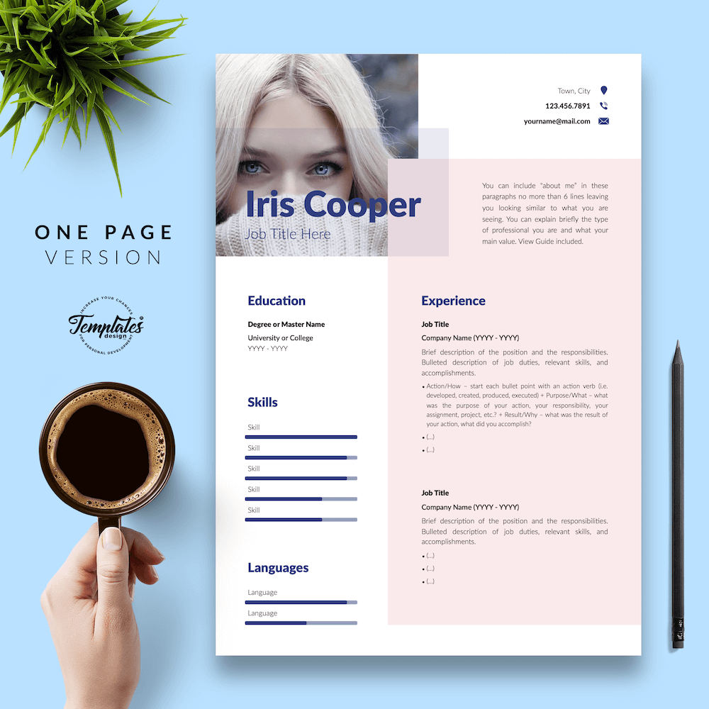 Best CV Template - Iris Cooper 02 - One Page Version - New version_V2