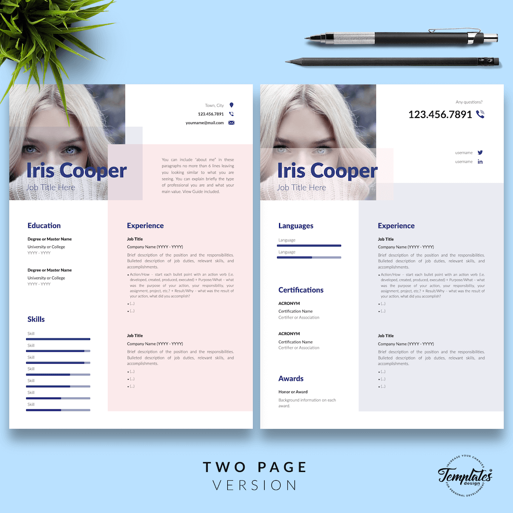 Best CV Template - Iris Cooper 03 - Two Page Version - New version_V2