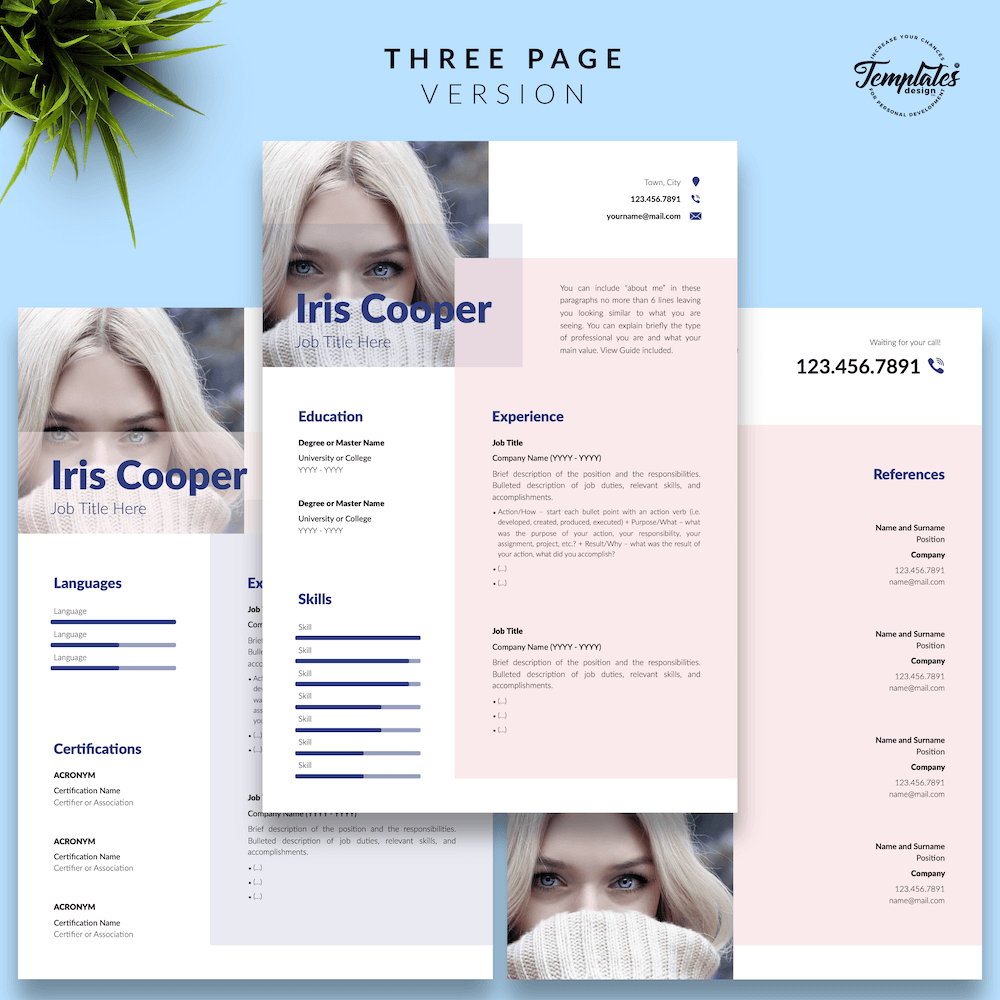 Best CV Template - Iris Cooper 04 - Three Page Version - New version_V2