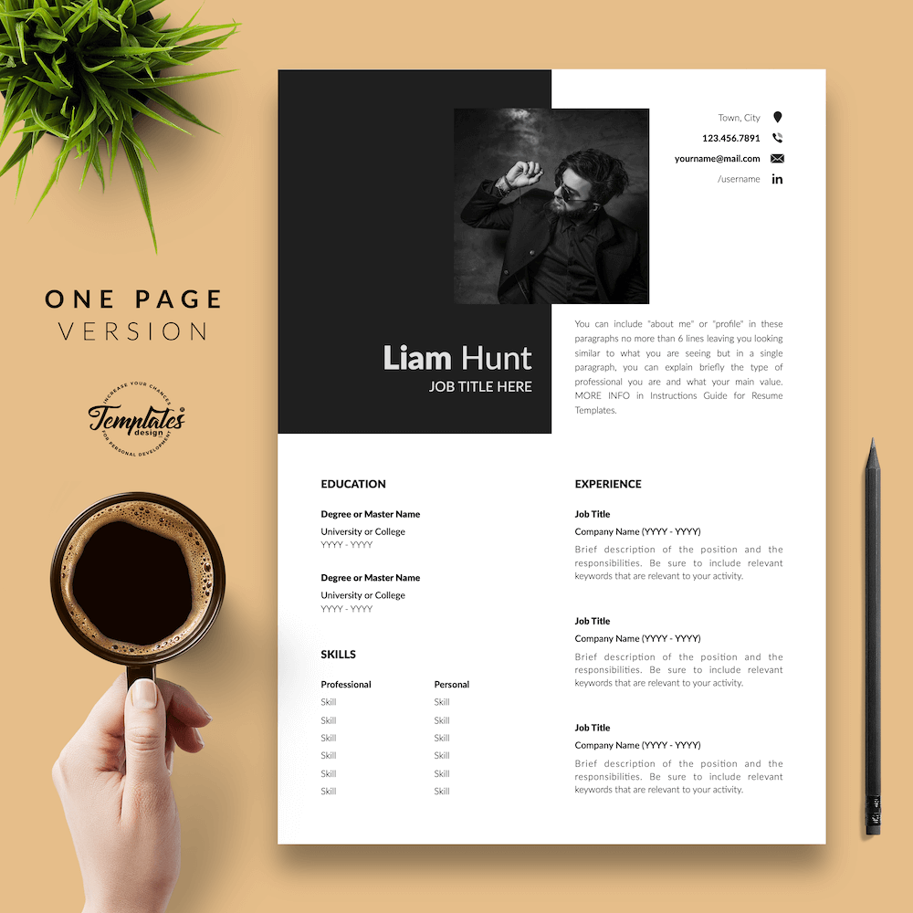 Modern CV for Word - Liam Hunt 02 - One Page Version