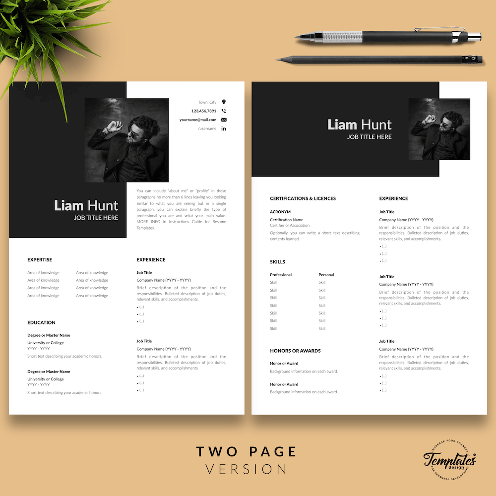 Modern CV for Word - Liam Hunt 03 - Two Page Version