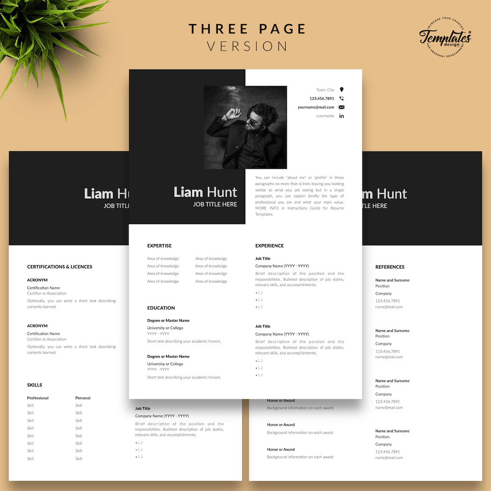 Modern CV for Word - Liam Hunt 04 - Three Page Version