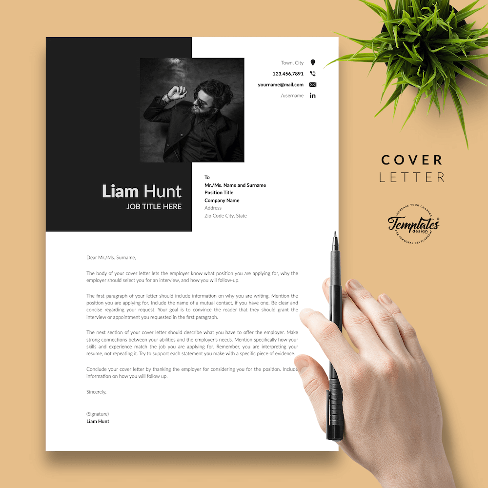 Modern CV for Word - Liam Hunt 05 - Cover Letter