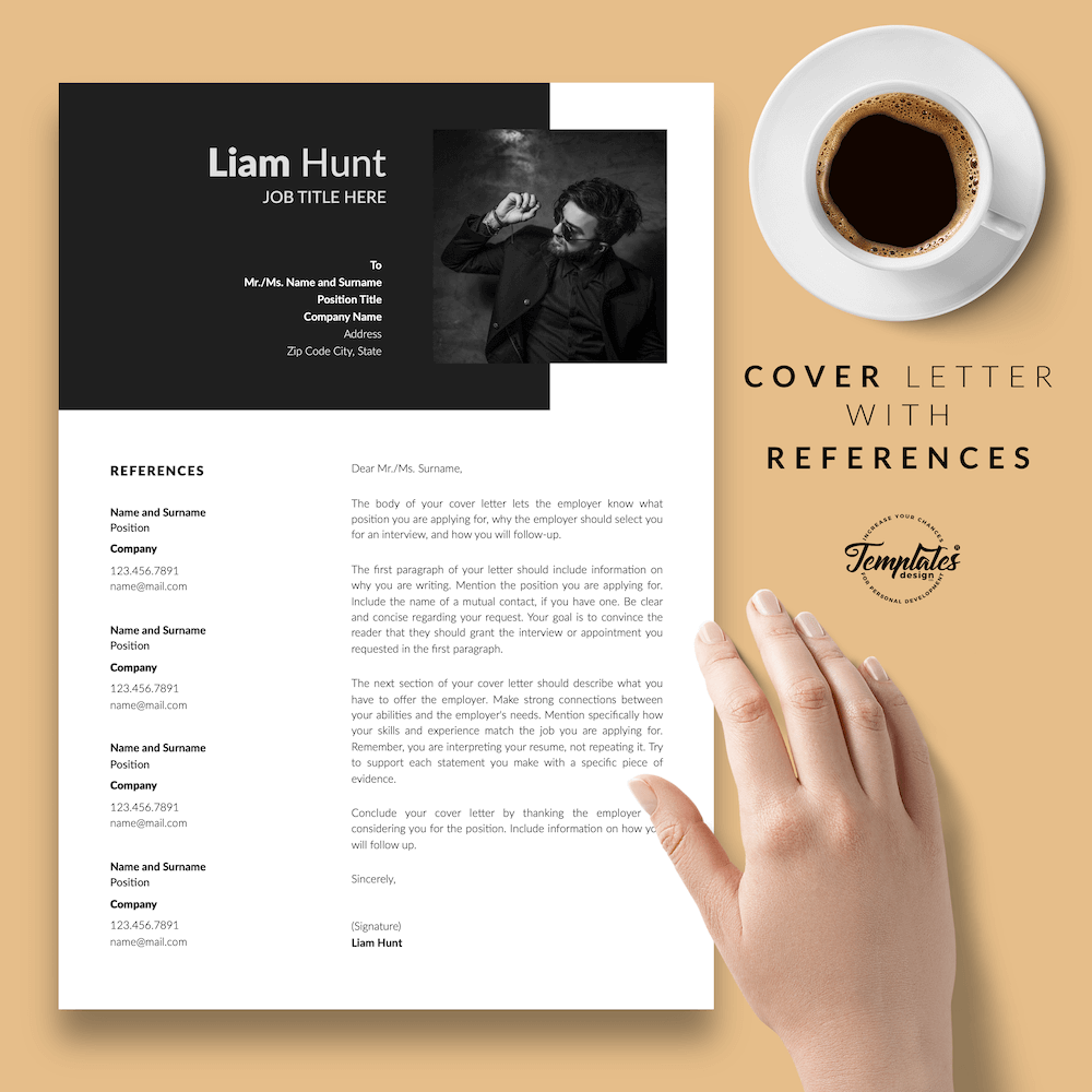 Modern CV for Word - Liam Hunt 07 - Cover Letter with References