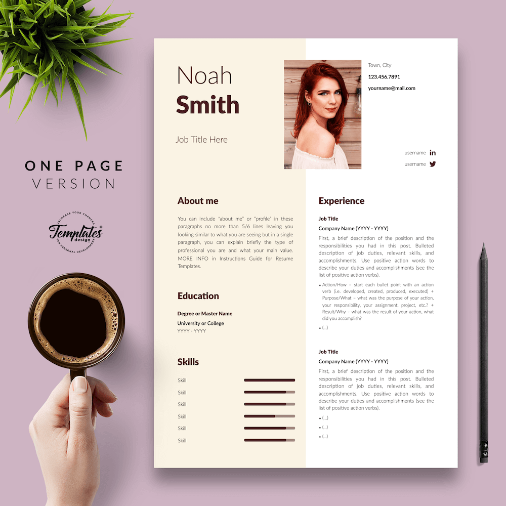 Sophisticated CV Template - Noah Smith 02 - One Page Version - New version