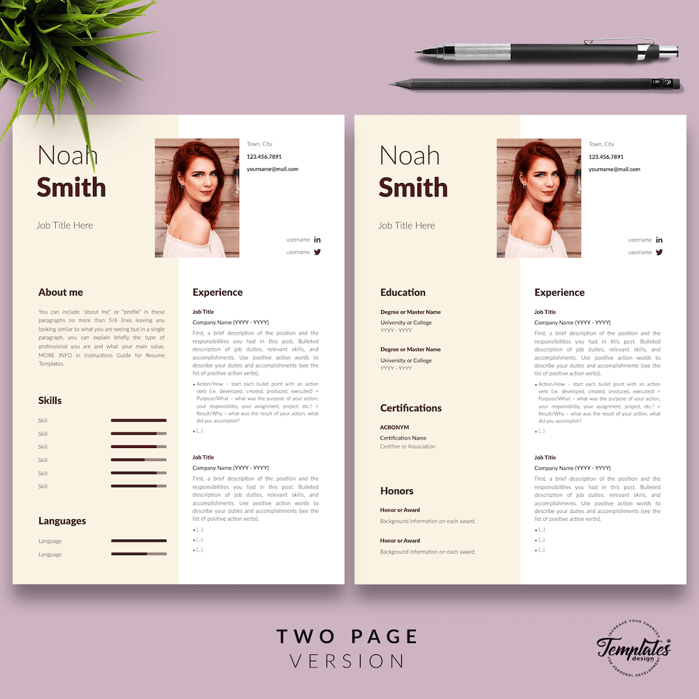 Sophisticated CV Template - Noah Smith 03 - Two Page Version - New version