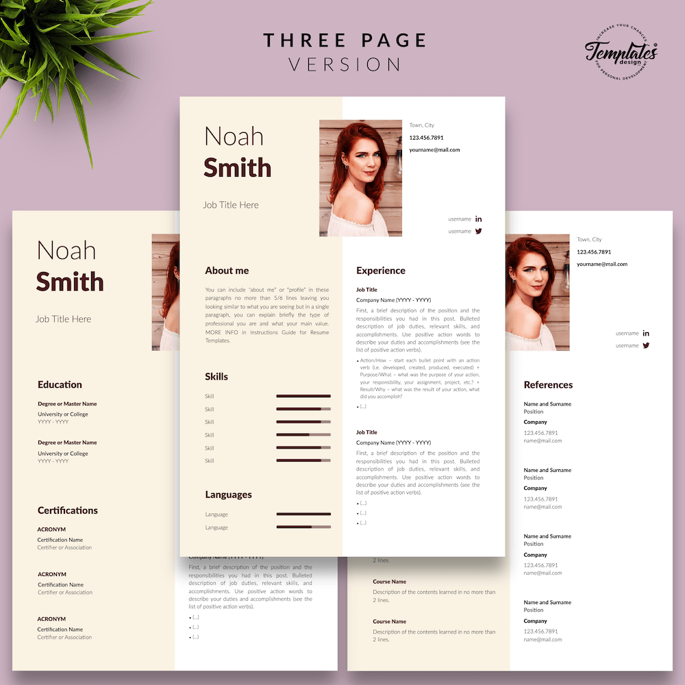 Sophisticated CV Template - Noah Smith 04 - Three Page Version - New version