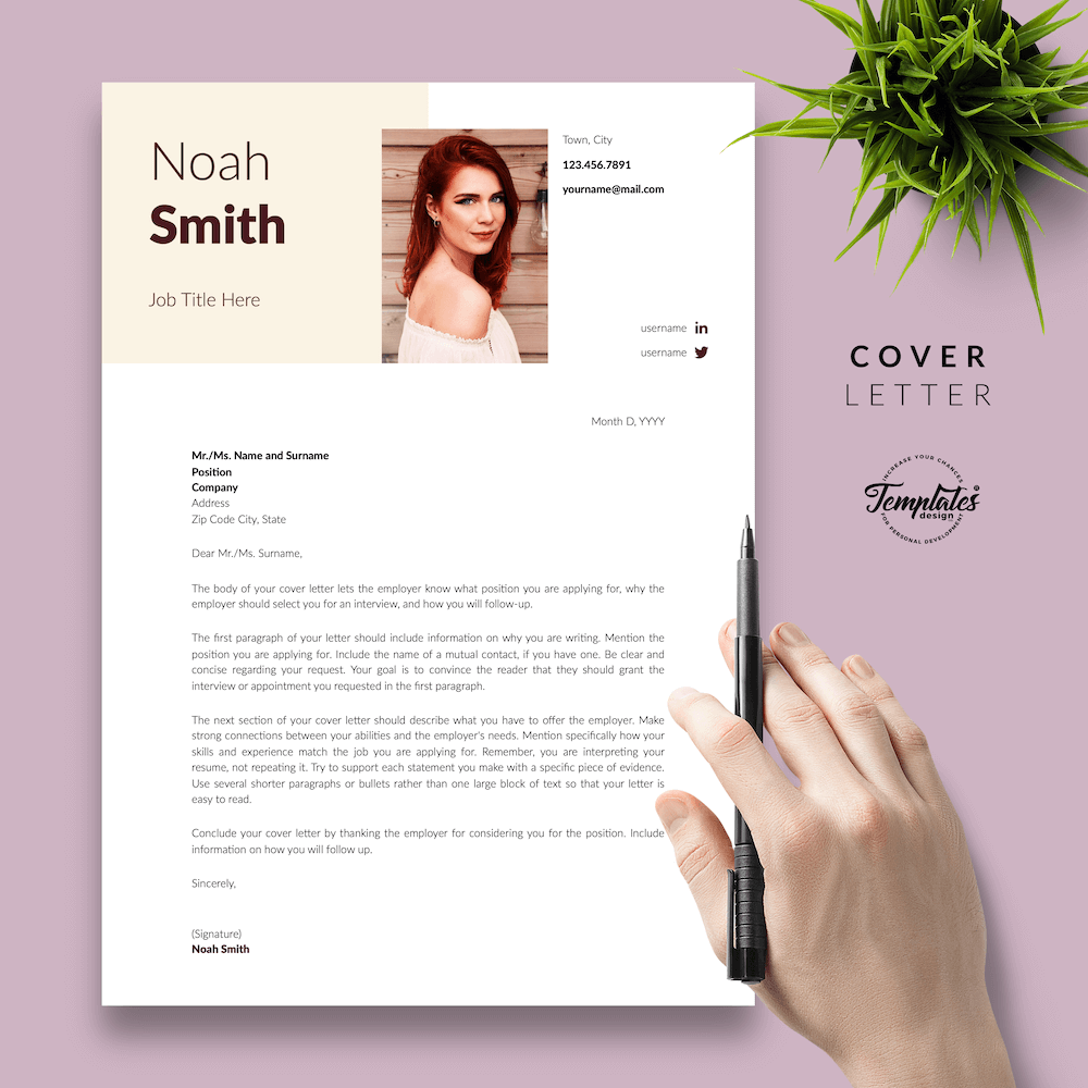 Sophisticated CV Template - Noah Smith 05 - Cover Letter - New version