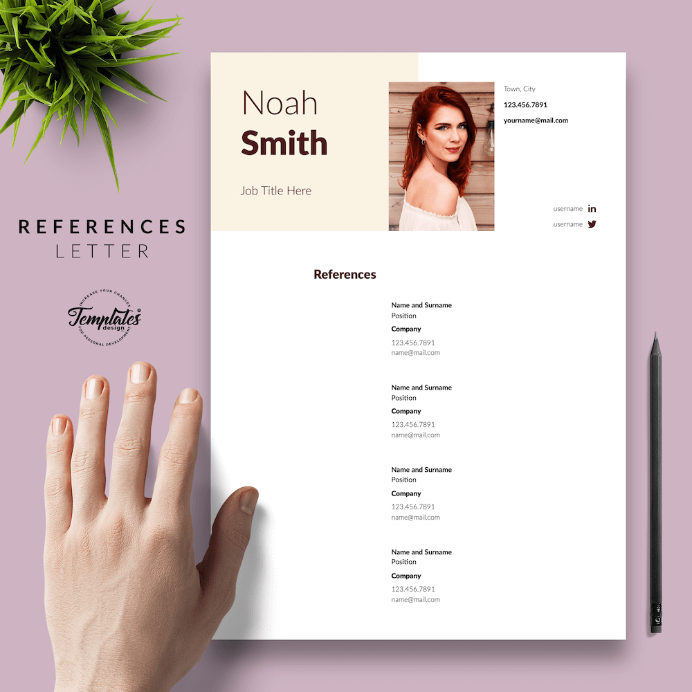 Sophisticated CV Template - Noah Smith 06 - References - New version