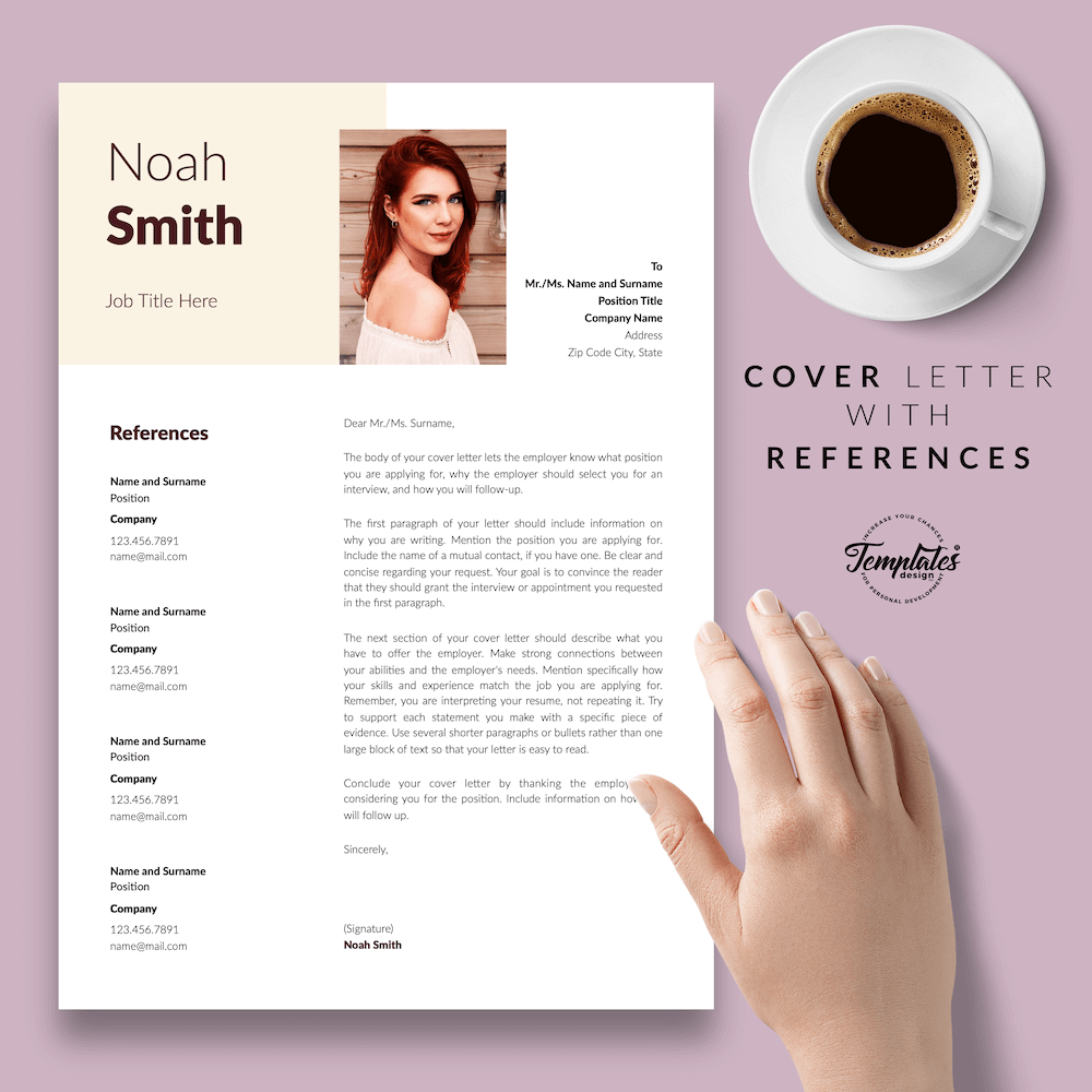 Sophisticated CV Template - Noah Smith 07 - Cover Letter with References - New version