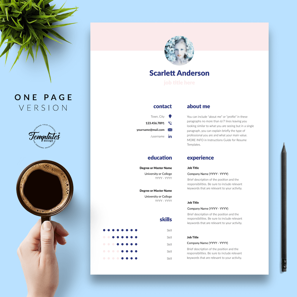 Creative Resume for Any Job - ScarlettAnderson 02 - One Page Version - New version