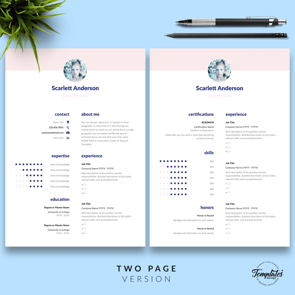 Creative Resume for Any Job - ScarlettAnderson 03 - Two Page Version - New version