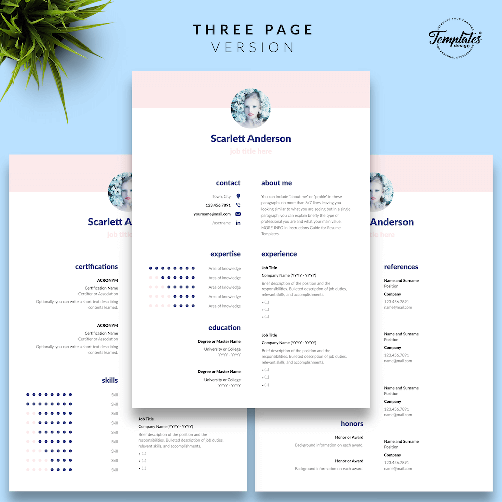 Creative Resume for Any Job - ScarlettAnderson 04 - Three Page Version - New version
